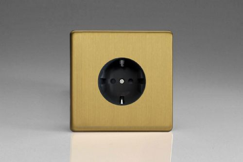 Varilight XEB5FB Euro Brushed Brass 1 Gang 16A Flush Socket with Schuko Earth